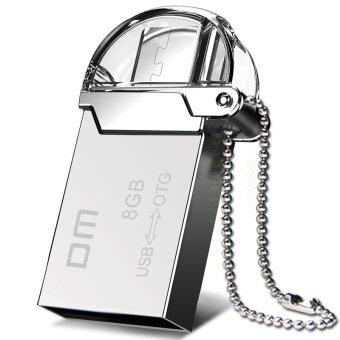 Harga DM PD008 OTG USB Flash Drive 8G Micro USB 2.0 Pendrive for Smartphone Metal Waterproof(Silver)