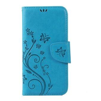Harga Moonmini Flower Leather Cover Flip for Lenovo S850 (Blue)