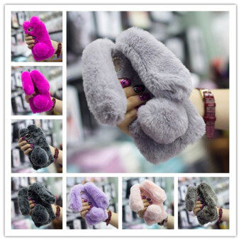 Harga Rabbit Bunny Warm Furry Fur TPU Case for iPhone 6 Plus-Grey