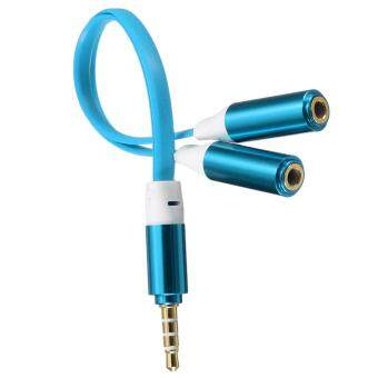 Harga 3PCS 3.5mm Male to 2 Dual Female Jack Splitter Headphone Y Audio Adapter Mp3 Cable Blue