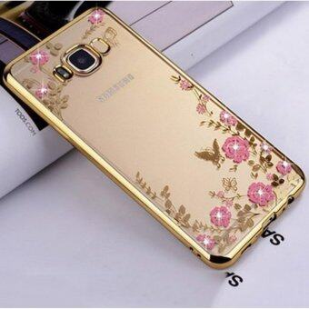 Harga Gogerstar Pink Flower Butterfly Bling Crystal Rhinestone Diamond Plating Frame Crystal Clear Back TPU Bumper Case for Samsung Galaxy S8