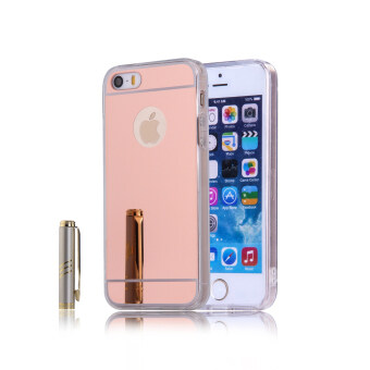 Harga TPU Bumper Frame Mirror Effect PC Case Cover For Apple iPhone SE 5SE 5 5S (Rose Gold)