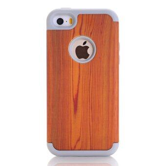 Harga iPhone 5SE Case,iPhone 5SE/5s Phone Case,AOOBCC 3 in 1 Hard Wood Grain Pattern Hybrid Hard Case Cover with Soft Silicone Inner+ Hard PC shell Cover Case for Apple iPhone 5S/SE/5SE,Gray