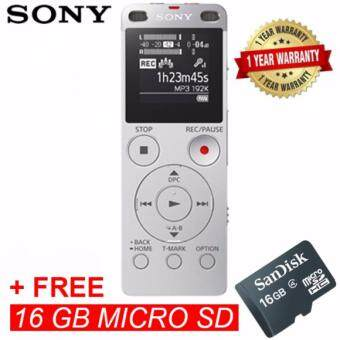 Harga Sony ICD-UX560/S Digital IC Voice Recorder with Built-in USB ICD-UX560F - Silver Colour + 16GB MSD