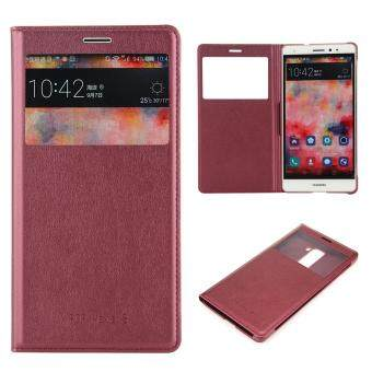 Harga Moonmini Case for Huawei Mate S Case View Window Leather Case Flip Case Cover - Wine Red