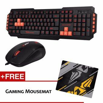Harga Alcatroz Xplorer M550 Multimedia Gaming Keyboard (Red) and Asic 3 High Resolution Optical Mouse (Black Red) and Free Mousemat