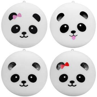 Harga 4Pc 10cm Squishy Kawaii Panda Bread Bun Phone Charm Bag Strap Pendant Squeeze Toy (Random Pattern)