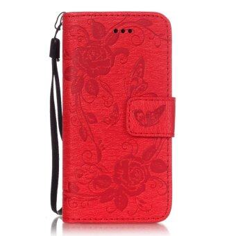Harga PU Roses Butterfly Wallet Card Slot Flip Stand Case Cover for Apple iPhone SE 5SE 5 5S (Red)