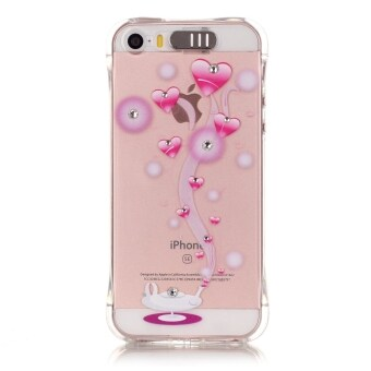 Harga Bling Diamond Soft Back Cover LED Incoming Call Flash Case For Apple iPhone SE 5SE 5 5S (Pink Hearts)