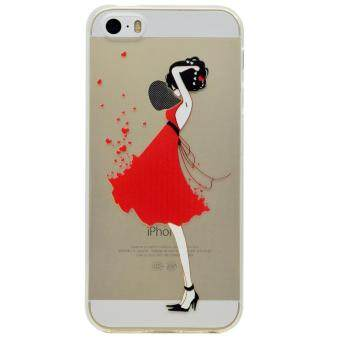 Harga Moonmini Case for iPhone SE 5SE 5 5S Slim Fit Soft TPU Clear Back Case Cover - Red Dress Girl