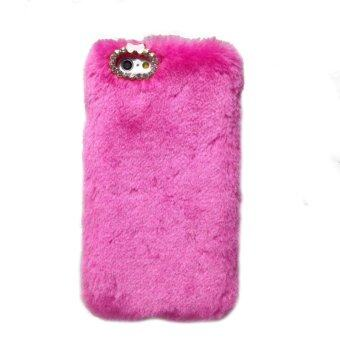 Harga Luxury Furry Rabbit Fur Bling Crystal Rhinestone Case for iPhone 6/6S (Rose Red)