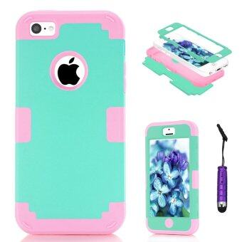 Harga Moonmini Hybrid Shockproof Back Case Cover for Apple iPhone 5c (Pink + Green)