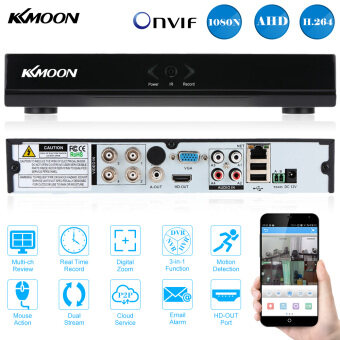 Harga KKMOON 4CH Channel Full 1080N/720P AHD DVR HVR NVR HDMI P2P Cloud Network Onvif Digital Video Recorder support Plug and Play Android/iOS APP Free CMS Browser View Motion Detection Email Alarm PTZ for HD 2000TVL CCTV Security Camera Surveillance System