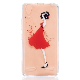 Harga Moonmini Case for Lenovo A6000 Soft Clear Back Cover Case - Red Dress Girl