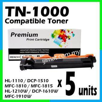 Harga 5 Units Brother TN1000 / TN-1000 High Quality Compatible Toner Cartridge For Brother HL-1110 / DCP-1510 / MFC-1810 / MFC-1815 / HL-1210W / DCP-1610W / MFC-1910W Printer