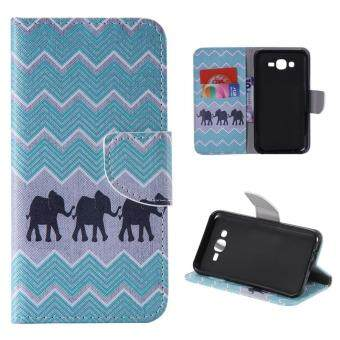 Harga Moonmini Case for Samsung Galaxy J7(2015) Leather Case Flip Stand Cover - Elephants
