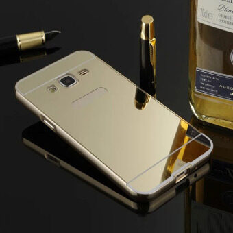 Harga Luxury Aluminum Metal Frame Mirror Back Case Cover For Samsung J3/J1/G530 (Gold)-