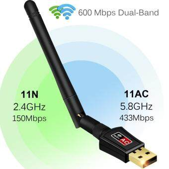 Harga Gogerstar AC 600Mbps Wireless Adapter, Dual Band USB Wifi dongle with Antenna, 802.11n/g/b Network Lan Card For Windows XP/Vista/7/8/8.1/10 Mac OS X 10.4-10.12(Black)