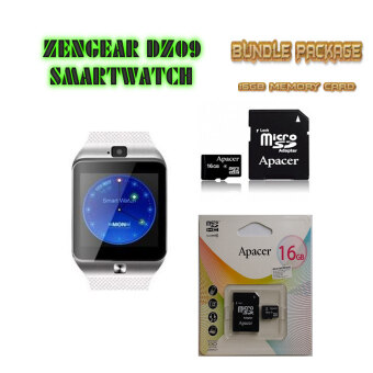 Harga ZenGear DZ09+ Smart Watch (Pure White) for Android + 16GB Class 10 Memory Card