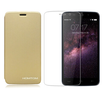 Harga Homtom Protective Case with Tempered Glass Screen Protector Film for HOMTOM HT17/HT17 Pro (Gold)