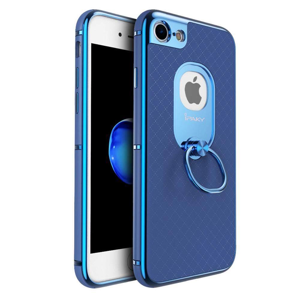 Ipaky Apple iPhone 7 Musim Panas Baru Desain Logo Keluar Elektroplate Bernapas Stand Penyangga Sarung Case dengan Cincin untuk Wanita dan Pria -Internasional