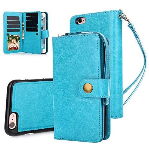 iPhone 6S Plus Case, iPhone 6 Plus Case, TabPow 10 Card Slot - [ID Slot][Button] Wallet Folio PU Leather Case Cover With Detachable Magnetic Hard Case For iPhone 6S/6 Plus (5.5 Inch), Blue - intl