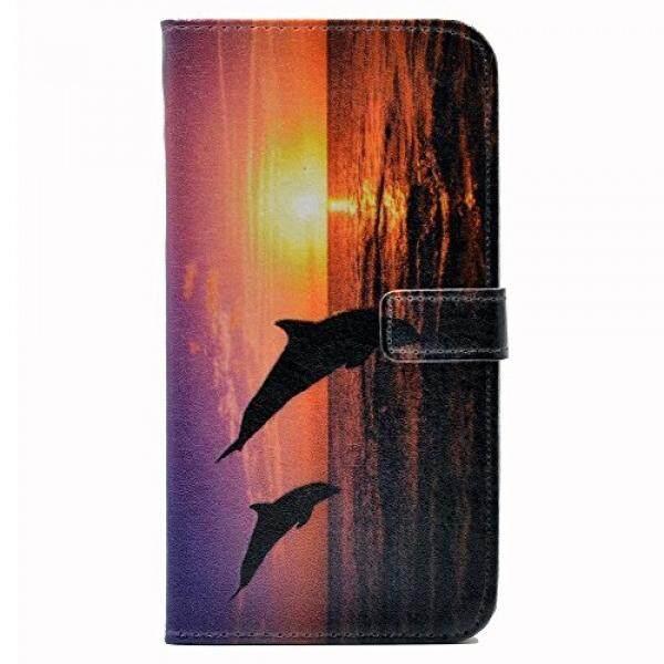 IPhone 7 Plus Case Lumba-lumba Silhouette Di Air Desain Pola Dompet Kulit Pemegang Kartu Kredit Lipat Penyangga Case Sarung untuk Apple iPhone 7 Plus, iPhone 7 Plus (2017)-Internasional