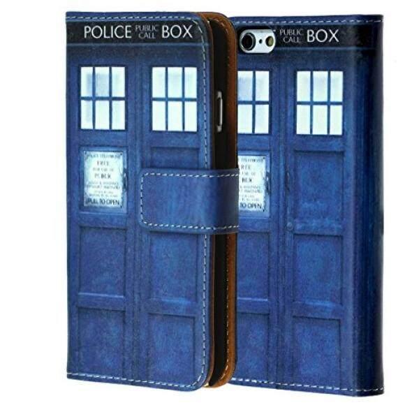 IPhone 8 Dompet Case, durarmor TARDIS Doktor Siapa Biru Police Kotak Dompet Kulit PU Premium Case Identitas Kartu Kredit Slot Kas Lipat Penyangga Pergelangan tangan Tali Case Dr. Siapa TARDIS-Internasional