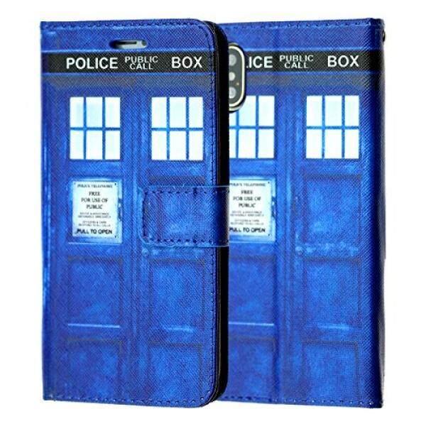 IPhone X Dompet Case, Durarmor iPhone X TARDIS Doktor Siapa Polisi Kotak PU Kulit Folio Dompet With Identitas, kartu Kredit, Slot Kas Lipat Penyangga Sarung Pelindung Membawa Case-Internasional
