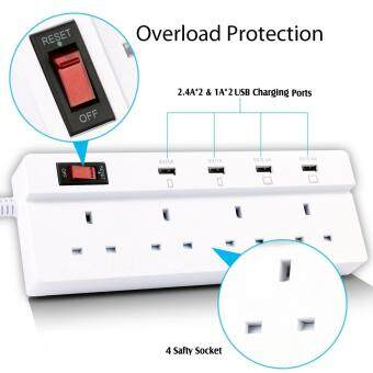 Harga Jabriel Lightning protection function Power Strip 4 Way Outlet 4USB Ports Extension Lead Power Strip Surge Protector USB ChargerPower Socket with 5.9ft Power Cord USB Charging Port Support iPadiPod Smart Phones