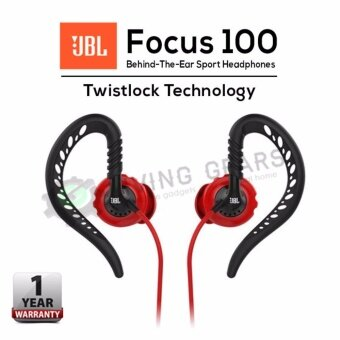 JBL Focus 100 Behind-the-ear Sport Sweatproof Headphones withTwistlock(TM) Technology (Red)