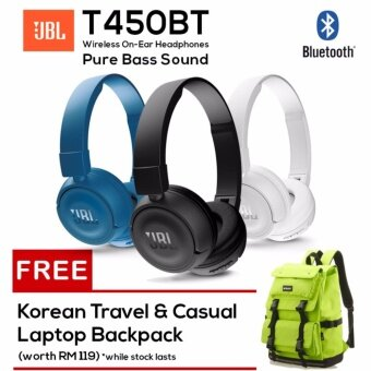 JBL T450BT Pure Bass Sound Wireless Bluetooth On-Ear Headphones Free Korean Travel Laptop Backpack