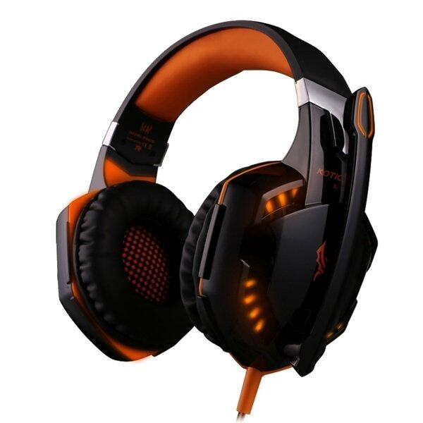 Kotion Setiap G2000 Lebih-Telinga Permainan Headphone Headset Earphone Ikat Kepala dengan Mikrofon Stereo Bas LED Ringan untuk Buah gamer, panjang Kabel: Sekitar 2.2 M (Oranye + Hitam)-Internasional