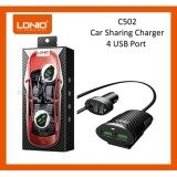 LDNIO C502 5.1A 4 USB Ports 1M ( Extension) Car Charger For All Type Of USB Cable - Black