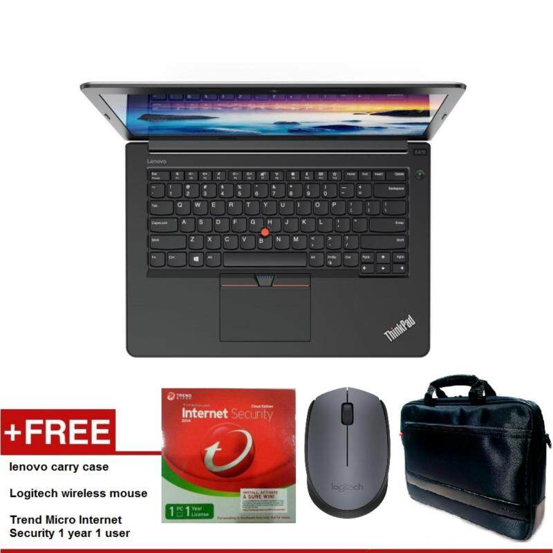 LENOVO THINKPAD E470 I7 14 FULL-HD GF940MX NOTEBOOK 20H1A07JMY FREE LENOVO CARRY CASE + LOGITECH WIRELESS MOUSE + TREND MICRO INTERNET SECURITY 1 YEAR 1 USER Malaysia