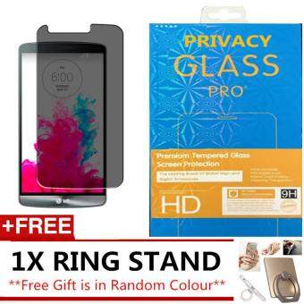 LG G3 ANTI SPY PRIVACY TEMPERED GLASS SCREEN PROTECTOR FREE IRING STAND