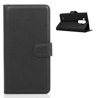 Lichee Pattern Flip Cover Case With Stand Function And Card Slots For LG G3 Black