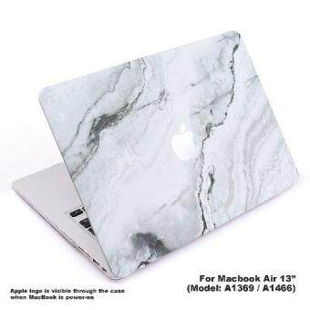 "Lightning Power - Rubberized Plastic Hard Shell Cover Protective Case for MacBook Air 13"" (A1369 / A1466) (White Marble Pattern)"