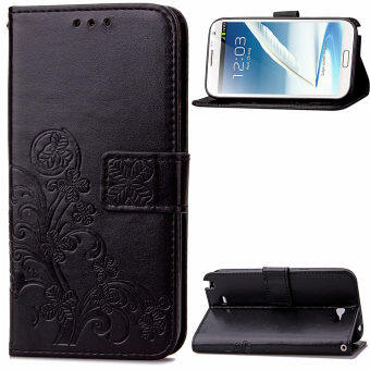 Harga Lucky Clover PU Leather Flip Magnet Wallet Stand Card Slots CaseCover for Samsung Galaxy Note II 2 N7100 Black