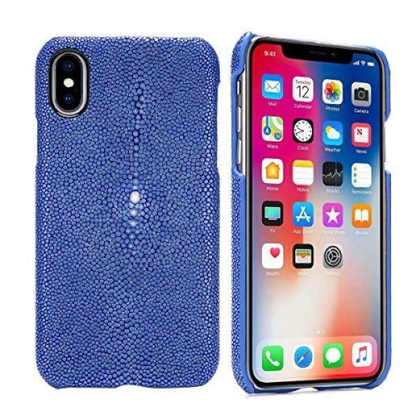 Luxury Case for iPhone X Hand Made from Genuine Stingray Fish Skin Superior Quality Bumper Case for iPhone X (Stingray Edition - Jewelry Blue) - intl