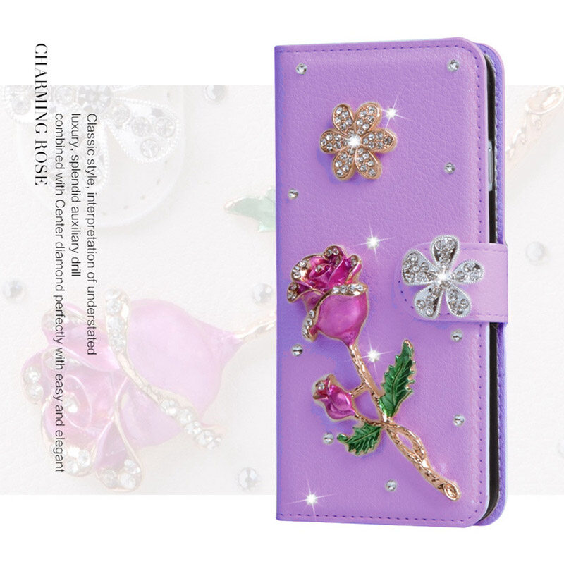 Luxury diamond leather Flip Leather with Deluxe Credit Card Flip cover For Alcatel Idol Alpha/OT6032 - intl