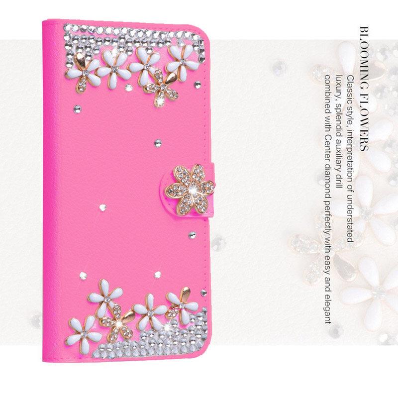 Luxury Diamond Leather Flip Kulit dengan Deluxe Kartu Kredit Flip Cover untuk LENOVO A3690-Intl