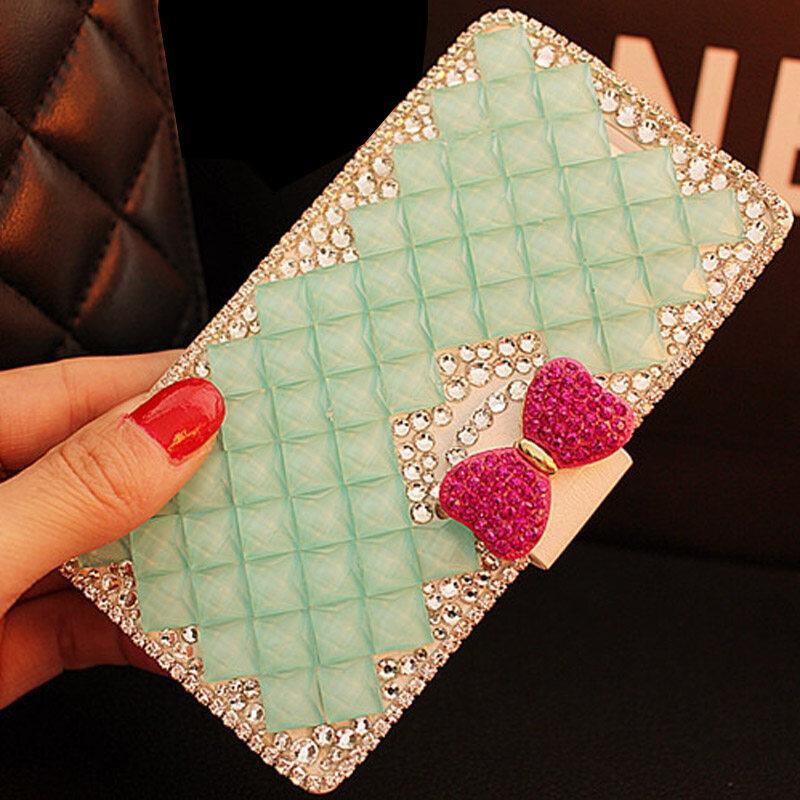 Luxury Diamond Leather Flip Kulit dengan Deluxe Kartu Kredit Flip Cover untuk Lenovo VIBE X2 Pro-Intl