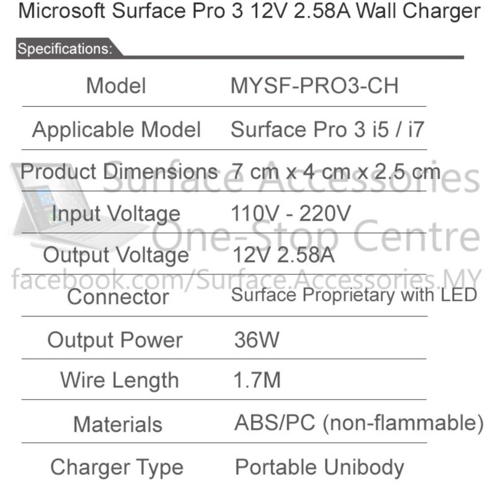 [MALAYSIA] Surface Pro 3 36W Charger with Original Charger Cable LED Charger Microsoft Surface Pro 3 Charger with Official and Original Micosoft Charging Cable with LED Indicator [ASSEMBLED IN MALAYSIA]