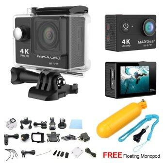 Harga MAXGear H10 4K Wifi Ultra HD Sport Action Camera EKEN H9 SJ4000GoPro + FREE Floating Monopod - Black