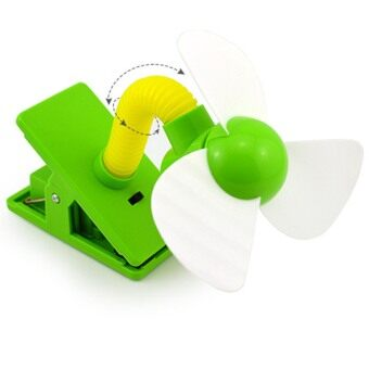 Harga Mini Portable USB Rechargeable Clip Fan Baby Trolley Cot StrollerJogger Outdoor Camping Car Cool Fan Green