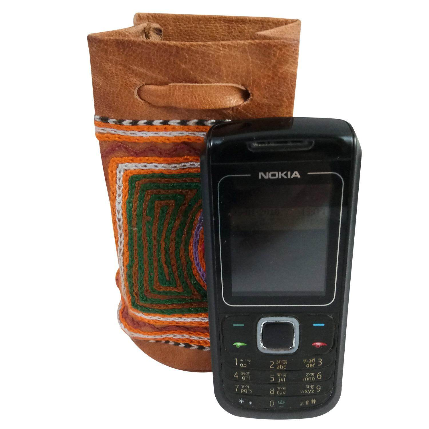 Mobile Phone Sling Pouch Handmade Crafted Leather Embroidered Mobile Phone Potli Case Sling Pouch Jewellery Carry Sling Potli & Phone Accessories Storage Sling Pouch Charger Carry Sling Pouch Bag Earphone Lid Carry Sling Pouch Bag - intl