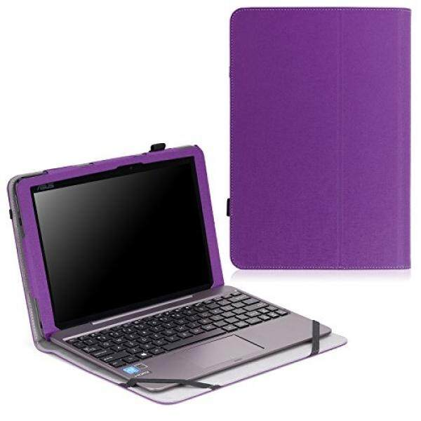 MoKo ASUS Transformer Book T100HA Case - Slim Folding Keyboard Portfolio Cover Case for ASUS Transformer Book T100HA Windows 10 2-in-aptop , PURPLE - intl