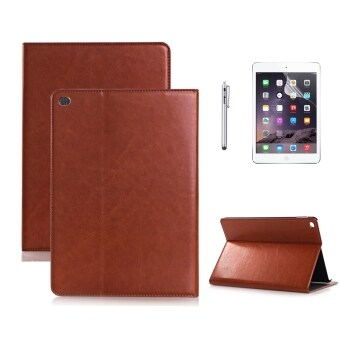 Moonmini Case for Apple iPad Air 2 iPad 6 - Brown Fashion PU Leather Folding Stand Flip Case Cover Skin Protector Wallet Card Slots + Stylus + Screen Film