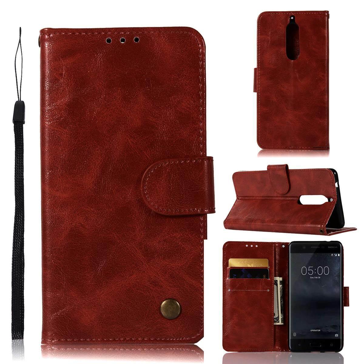 ราคา ราคาถูกที่สุด Moonmini Case For Nokia 5 Vintage Case Pu Leather Magnetic Flip Stand Wallet Cover With Card Slots And Hand Strap Intl